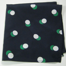Classic Navy with White Green Polka Dot Pocket Square Handkerchief Pochette - $99.99