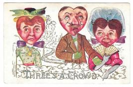 Valentine Fantasy Postcard Heart Face Heads Threes a Crowd Vintage 1910 ... - $4.99