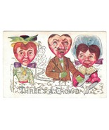 Valentine Fantasy Postcard Heart Face Heads Threes a Crowd Vintage 1910 ... - $4.99