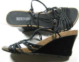 KENNETH COLE 6.5 Black Suede Wedge Evening Exquisite Rich Strap Heels Sandals - $69.29