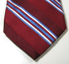 MICHAEL KORS Rich Red Burgundy Blue White Stripe 100% Silk RARE Excellent - £75.61 GBP