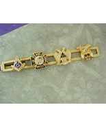 32nd degreel Masonic tie Clip In Hoc SIGNO Vinces gold black enamel frat... - $95.00