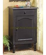 ANTIQUED Black Wood CABINET Storage End Table Night Stand (#39092) - $138.00