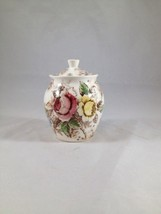 Nasco Rose Arbor Floral Tall Sugar Bowl/Honey Pot made in Japan - $12.19