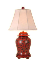 Beautiful Chinese Red Lacquer Ginger Jar Table Lamp w Shade and Finial 2... - €320,79 EUR