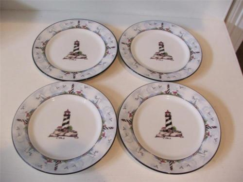 Totally Today Coastal Lighthouse 4 Salad Desert Plates 7 5/8  Sailboats Gulls - $24.74 & Totally Today Plates: 5 listings