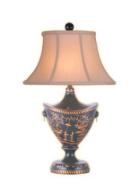 "Beautiful Chinese Black Lacquer Vase Table Lamp w Shade and Finial 24"" - $287.09"