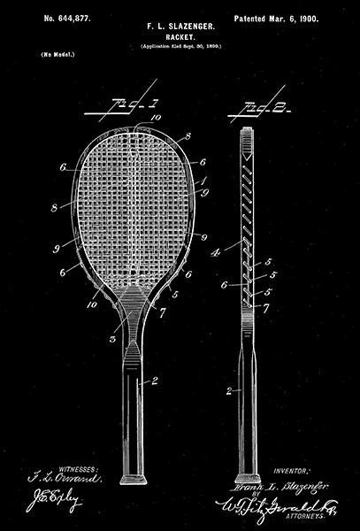 Primary image for 1900 - Racket - F. L. Slazenger - Patent Art Poster