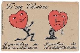 Fantasy Valentine Heart Faced Lover Vintage 1905 UDB Glitter Added Postcard - $6.69
