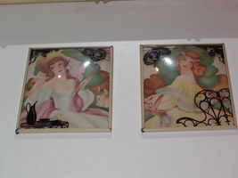 SILHOUETTE Reverse Painted GARDEN PARTY GIRLS Wall Art Vintage ANTIQUE P... - $49.99