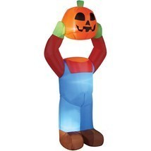 Headless Pumpkin Person Inflatable Halloween Decoration Prop Airblown 4 FT - $37.10