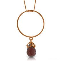 """Brand New 14K Solid Rose gold 18"""" fine Necklace w Briolette Garnet - $128.84 - $150.64"""