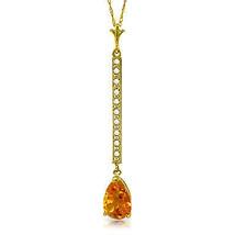 "Brand New 1.8 CTTW 14K Solid gold 18"" fine Necklace Diamond Citrine - $167.33 - $189.14"