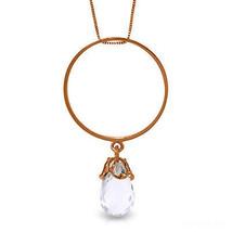 "Brand New 14K Solid Rose gold 18"" fine Necklace w Briolette White Topaz - $128.84 - $150.64"