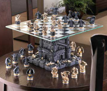 Primary image for Black TOWER DRAGONS CHESS SET Glass Game Board Dragon Warriors CASTLE (#15192)