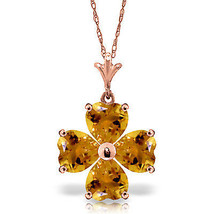 "Brand New 3.8 CTTW 14K Solid Rose gold 18"" fine Heart Cluster Citrine Necklace - $163.68 - $180.04"