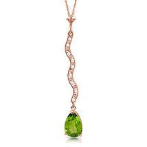 "Brand New 14K Solid Rose gold 18"" fine Necklace w diamonds & Peridot - $180.13 - $201.93"