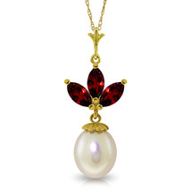 """Brand New 4.75 CTTW 14K Solid gold 18"""" fine Necklace pearl Garnet - $120.86 - $142.67"""