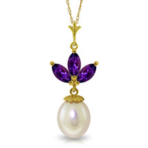 """Brand New 4.75 CTTW 14K Solid gold 18"""" fine Necklace pearl Amethyst - $120.86 - $142.67"""