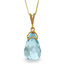 "Brand New 10.25 CTTW 14K Solid gold 18"" fine Hidden Charm Blue Topaz Necklace - $125.27+"