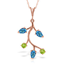 """Brand New 14K Solid Rose gold 18"""" fine Necklace w Blue Topaz & Peridots - $167.38 - $189.18"""