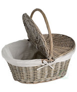Oval Willow Picnic Basket with Lid - £18.77 GBP