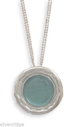"16.5"" Ancient Roman Glass Necklace Sterling Silver"