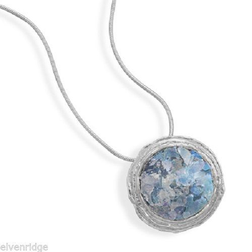 "16"" Textured Edge Ancient Roman Glass Necklace Sterling Silver"
