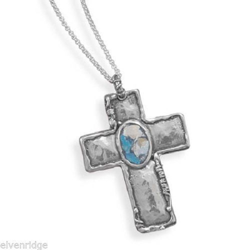 "18"" Oxidized Cross with Roman Glass Necklace Sterling Silver"