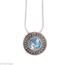 """17"""" Round Ancient Roman Glass with Rope/Bead Edge Necklace Sterling Silver"""