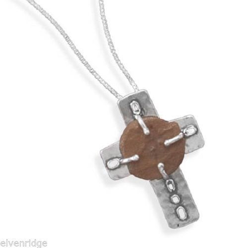 "16.5"" Cross and Ancient Coin Necklace Sterling Silver"