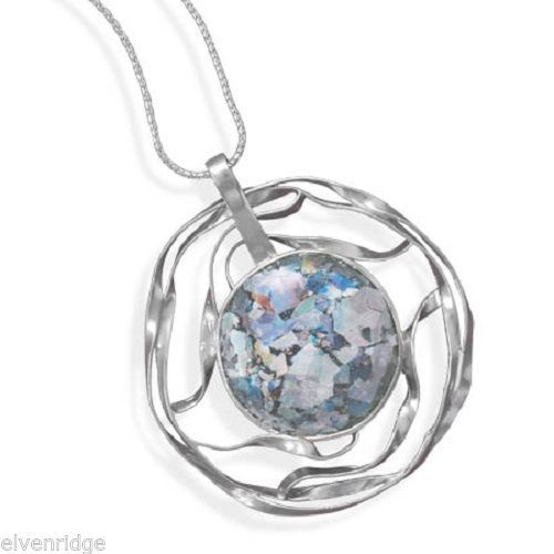 "20"" Necklace with Cut Out Roman Glass Pendant Sterling Silver"