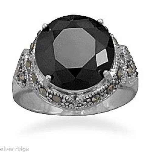 Black CZ and Marcasite Ring Sterling Silver