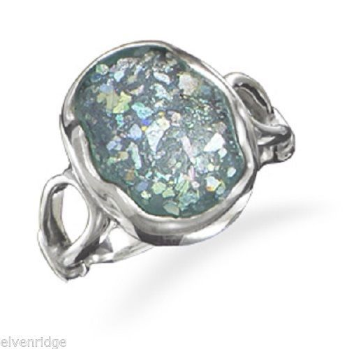 Ancient Oval Roman Glass Ring Sterling Silver
