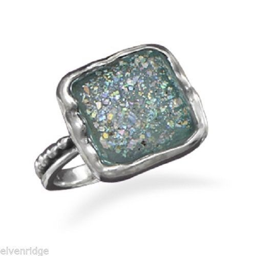 Ancient square Roman Glass Ring Sterling Silver