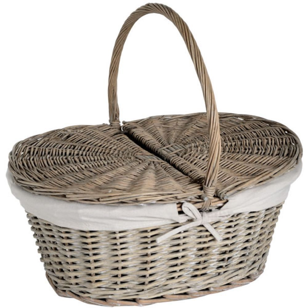 Oval Willow Picnic Basket with Lid