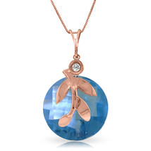 "14K Solid Rose gold 18"" fine Necklace wCheckerboard Cut Blue Topaz & Diamond - $122.70+"