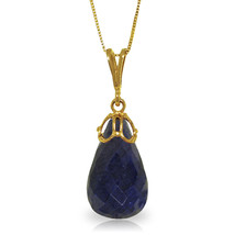 "14.8 CTTW 14K Solid gold 18"" fine Necklace Briolette genuine Sapphire - $106.16+"
