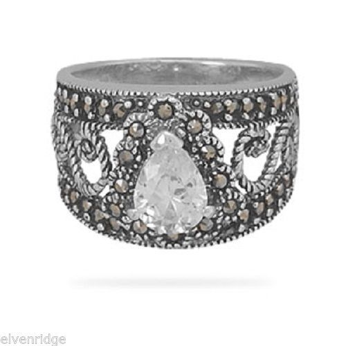 Filigree Marcasite and Pear CZ Ring Sterling Silver