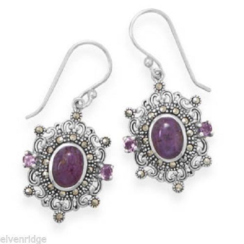 Ornate Marcasite and Purple Turquoise Earrings Sterling Silver