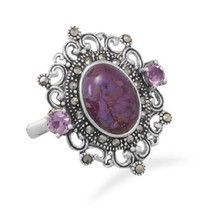 Ornate Marcasite and Reconstituted Purple Turquoise Ring Sterling Silver