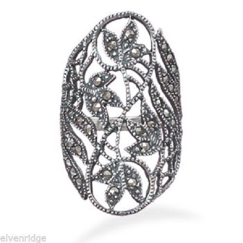 Marcasite Ring with Cut Out Leaf Design Sterling Silver