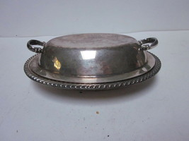 VINTAGE ENGLISH SILVER PLATED 5/050 SMALL OVAL COVERED SERVING BOWL - $9.99