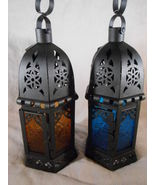 CANDLE LANTERN Iron & Glass, Blue or Yellow LANTERNS Uses Tealights or V... - $12.00