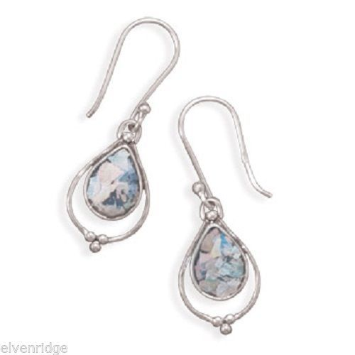 Pear Shape Roman Glass Earrings Sterling Silver