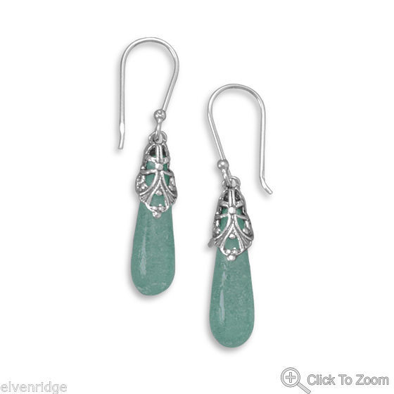 Roman Glass Drop Earrings Sterling Silver