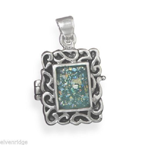 Roman Glass Locket Pendant Sterling Silver