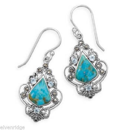 Reconstituted Turquoise, Blue Topaz and Marcasite Earrings Sterling Silver