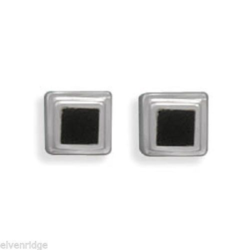 Square Black Onyx Post Earrings Sterling Silver