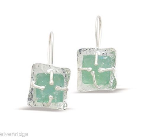 Textured Square with Ancient Roman Glass Earrings Sterling Silver